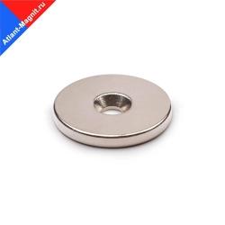 Неодимовый магнит диск 25х3 мм с зенковкой 4,5/7,5 мм