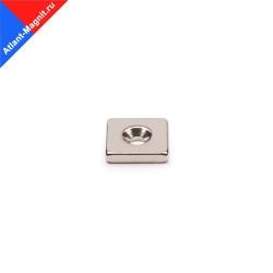 Неодимовый магнит прямоугольник 15х15х3 мм с зенковкой 3/7 мм