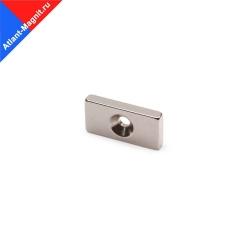 Неодимовый магнит прямоугольник (призма) 20х10х3 мм с зенковкой 3/6,5 мм