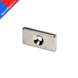 Неодимовый магнит прямоугольник (призма) 25х12х3 мм с зенковкой 3,5/7 мм